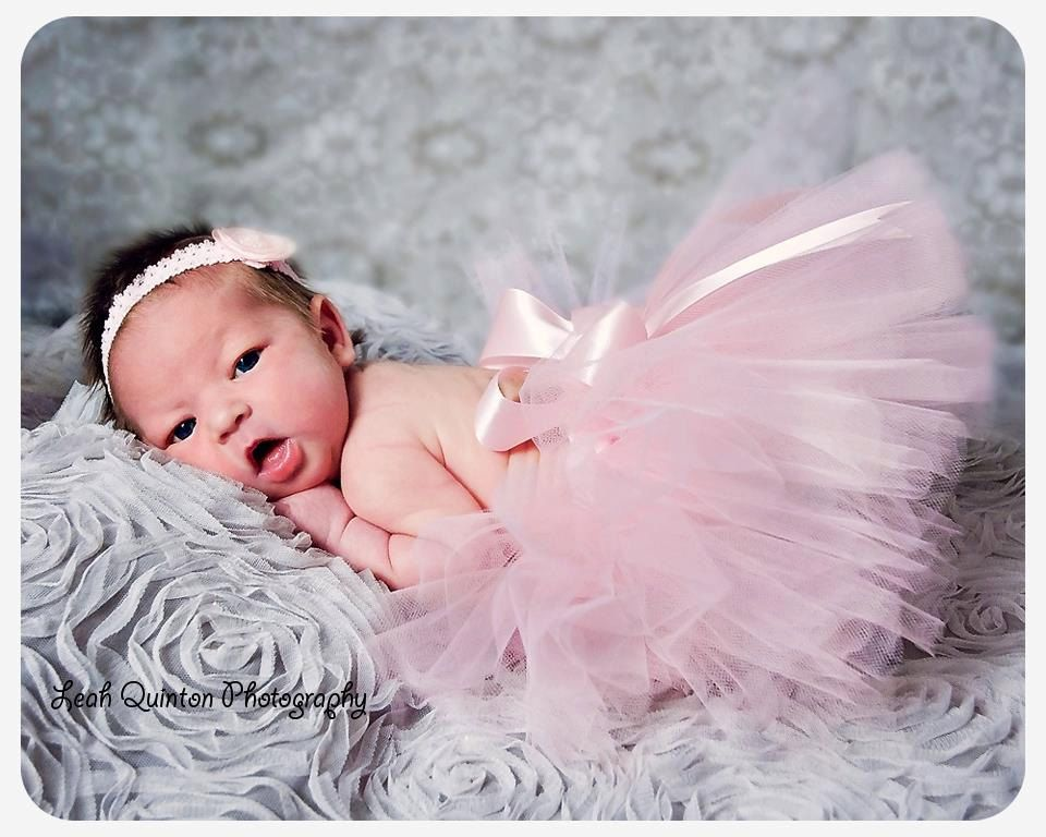 Newborn tutu set pink satin and pearls pink tutu or newborn photoshoot