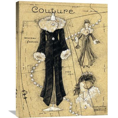 """Global Gallery 'Couture IV' by Janet Kruskamp Vintage Advertisement on Wrapped Canvas Size: 35"""" H x 28"""" W x 1.5"""" D"""