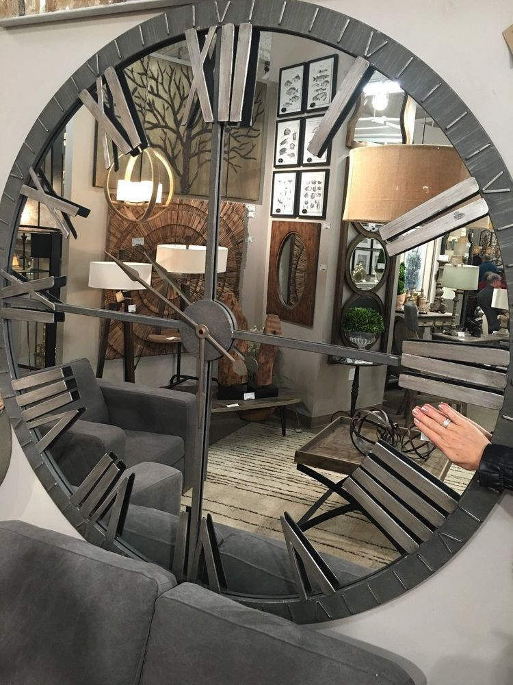 Details About Mirrored 60 Quot Aged Metal Round Wall Roman