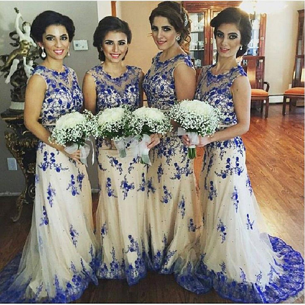 Sleeveless bridesmaid dressappliques and lace bridesmaid dress exquist royal blue lace bridesmaid dress wedding party dress robe demoiselle dhonneur cheap online shopping ombrellifo Gallery