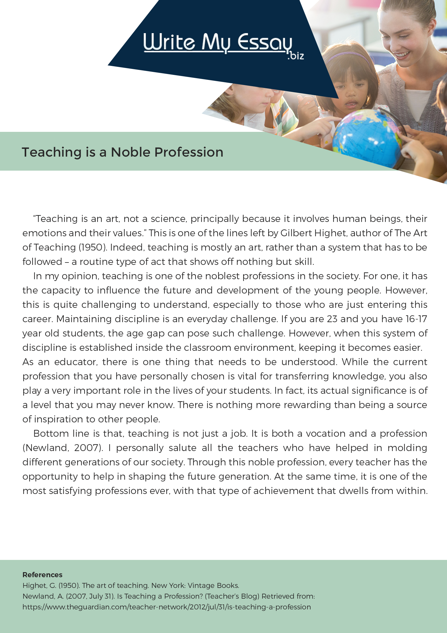 Teaching Noble Professional Essay Sample That Can Help You With Your Essay Writing Task For More Samples Vis Teaching Profession Teaching Philosophy Teaching