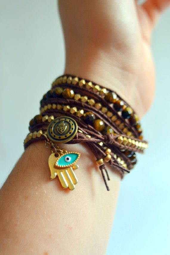 Tiger S Eye Gold Wrap Bracelet With Hamsa Evil Charms