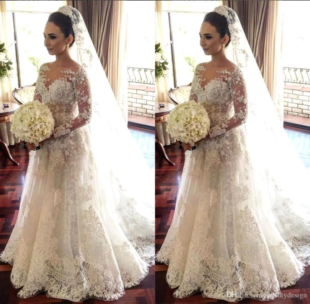 A Line White Tulle Wedding Dress 2017 Arabic Bridal: 2017 Sheer Long Sleeves Lace A Line Plus Size Wedding