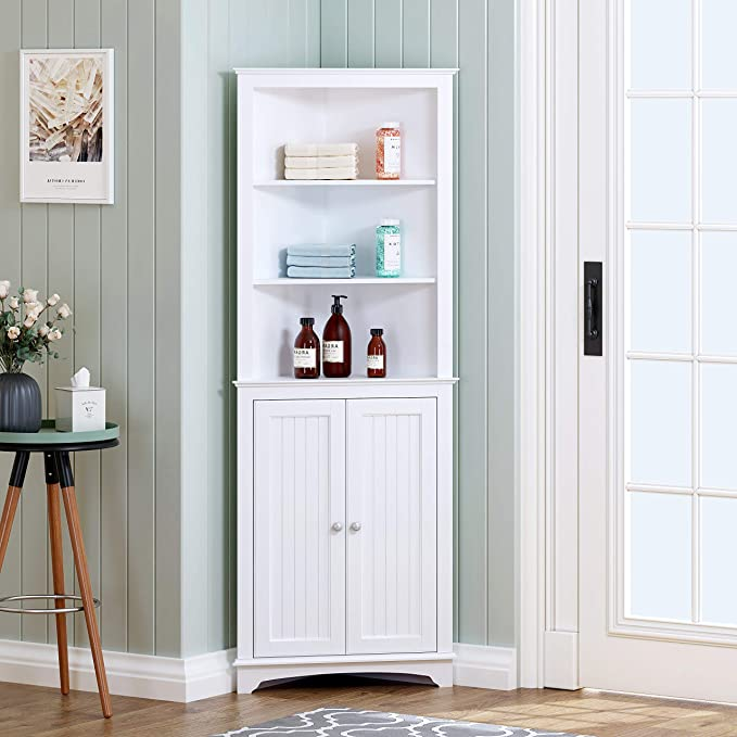 Amazonsmile Spirich Home Tall Corner Cabinet With Two Doors And Three Tier Shelves Free Stand Corner Storage Cabinet White Corner Cabinet Tall Corner Cabinet Free standing storage cabinets with doors
