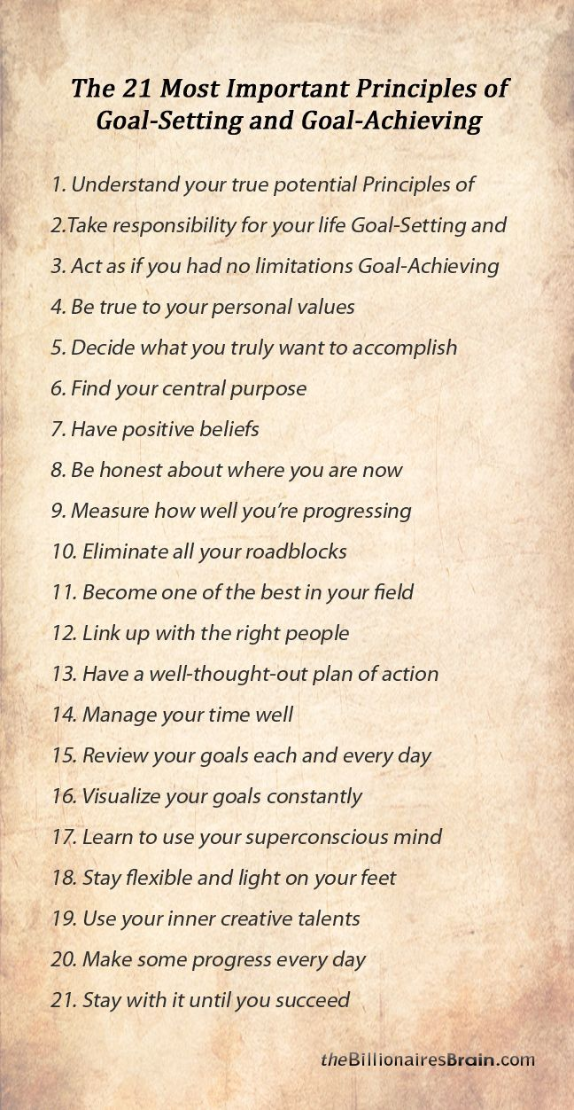 the 21 most important principles of goal setting and goal achieving goals