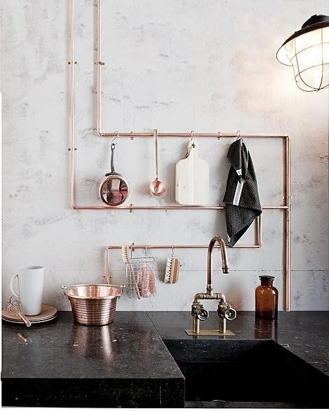 Look! Copper Pipe Kitchen Utensil Racks #kitchenutensils
