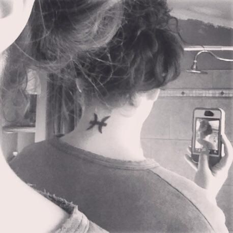 Pisces Back Of The Neck Tattoo Neck Tattoo Piercing Tattoo Pisces Tattoos