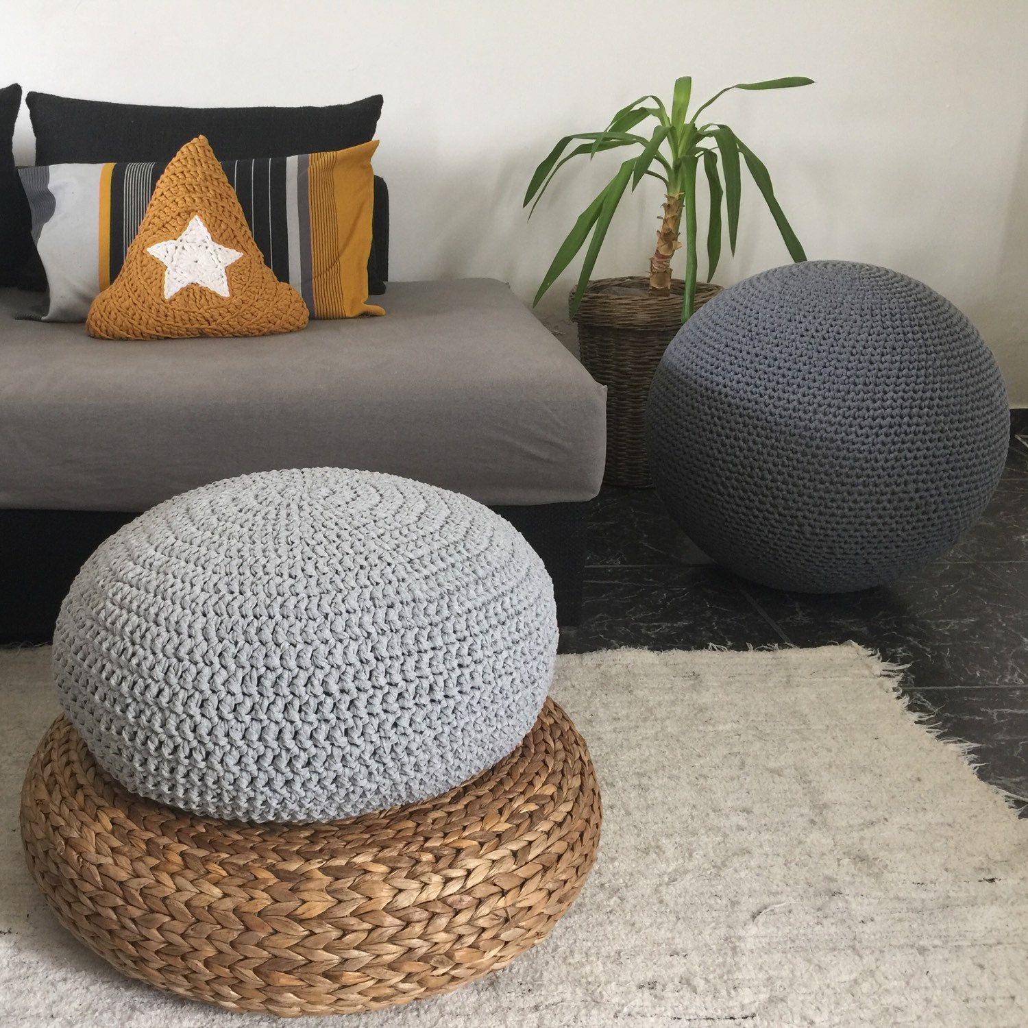 Large Meditation Cushion, Round Pillow Seating, Giant Knit Pouffe ...