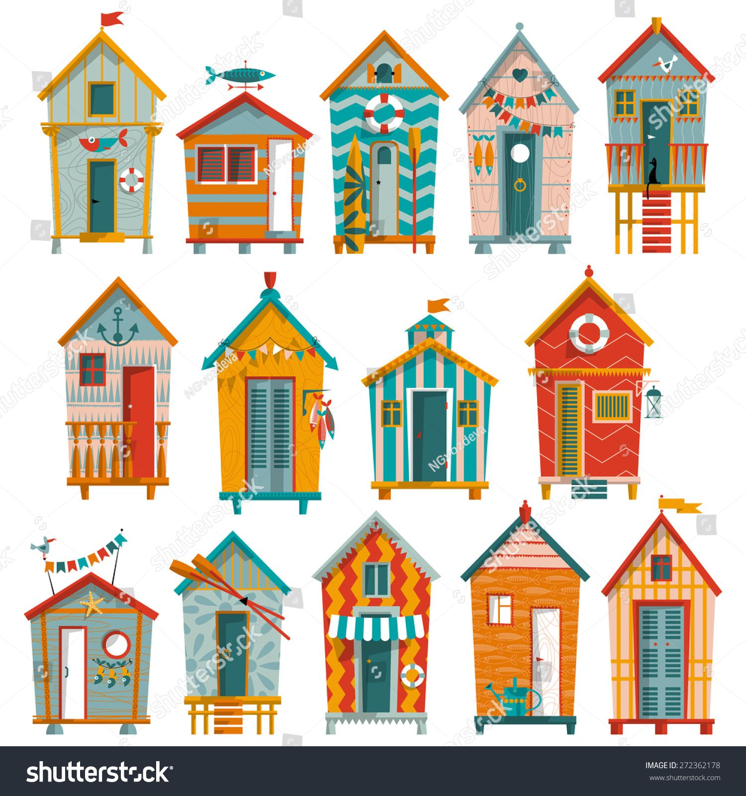 14 various multi colored beach huts vector illustration along life 39 s pathways 2 in 2019 - Dessin cabine de plage ...