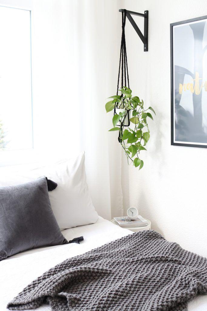 diy-blumenampel-schlafzimmer-ikea-regalhalterung deko Pinterest