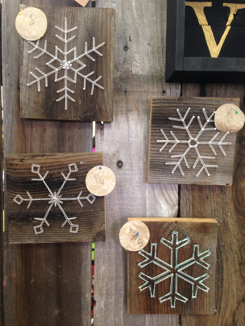 Some designed snowflakes with string and nail art! So freaking cute ...