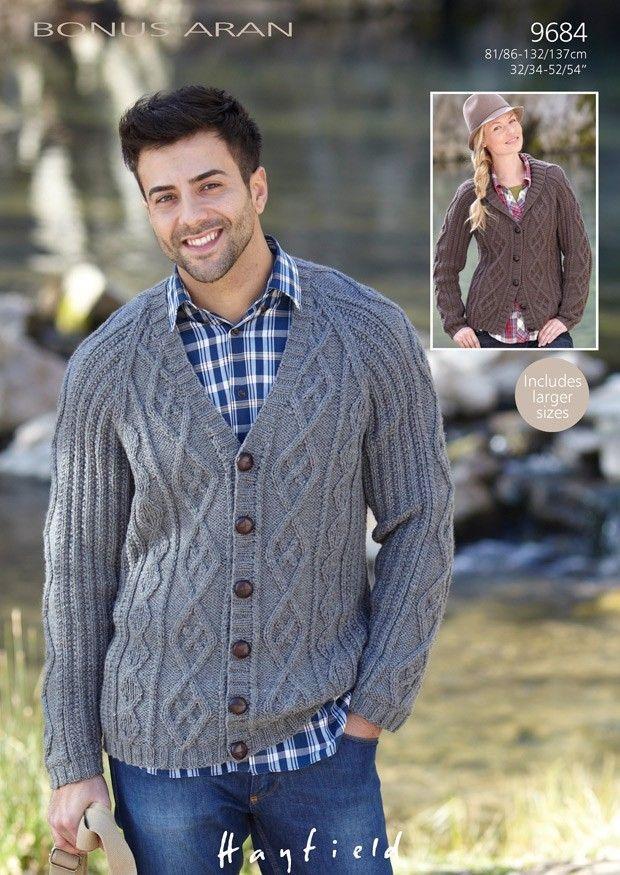 89fc7dcf75334 Cardigan patterns in Hayfield Bonus Aran Tweed