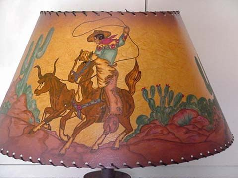 T m cowboyclassics i was trying to find a great scenic western lamp shades under lamp shade cowboy lamp vintage mozeypictures Image collections