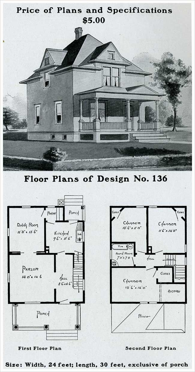 Design No 136 The Radford American Homes 100 Houses Illustrated Wooden House Plans Four Square Homes House Plans With Pictures