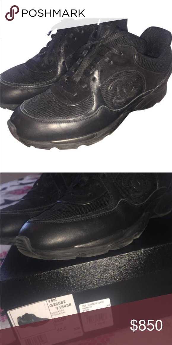 Black Chanel trainers (Sz)41.5 All black leather women's Chanel trainer size 41.5/10.5 CHANEL Shoes Sneakers