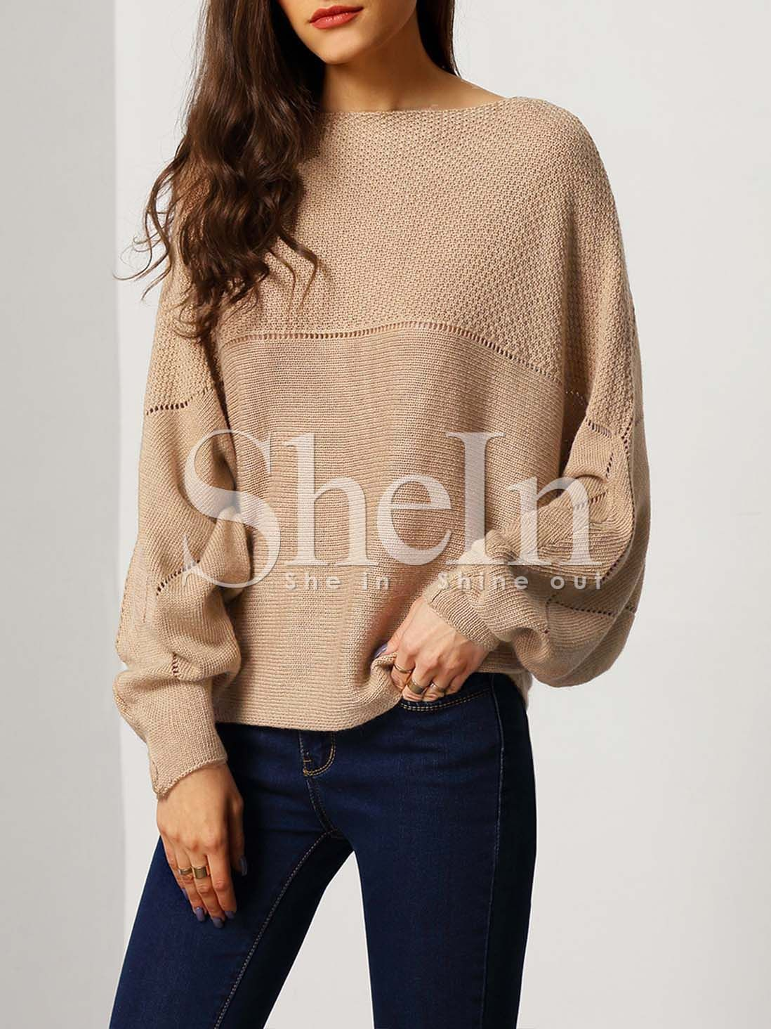 Brown Boat Neck Batwing Sleeve Eyelet Sweater | Pullover, Boat ...