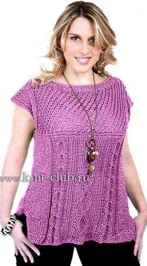 вязание спицами для полных женщин жилет с карманами я туники