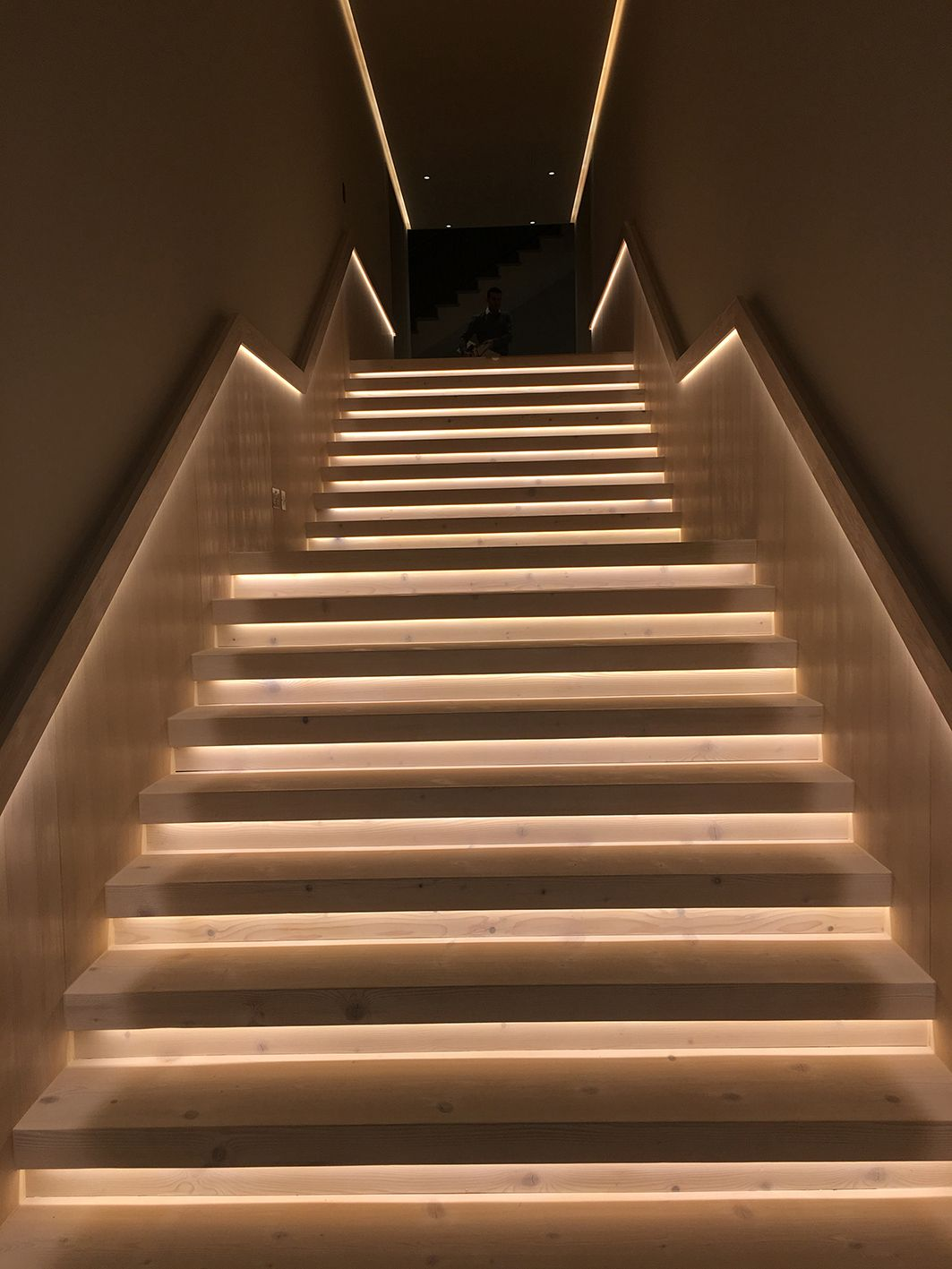 Douglas Fir Engineered Wood Staircase With Under Lighting Created By  Element7