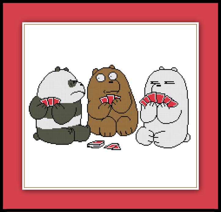 We Bare Bears Cross Stitch Pattern | Bordado