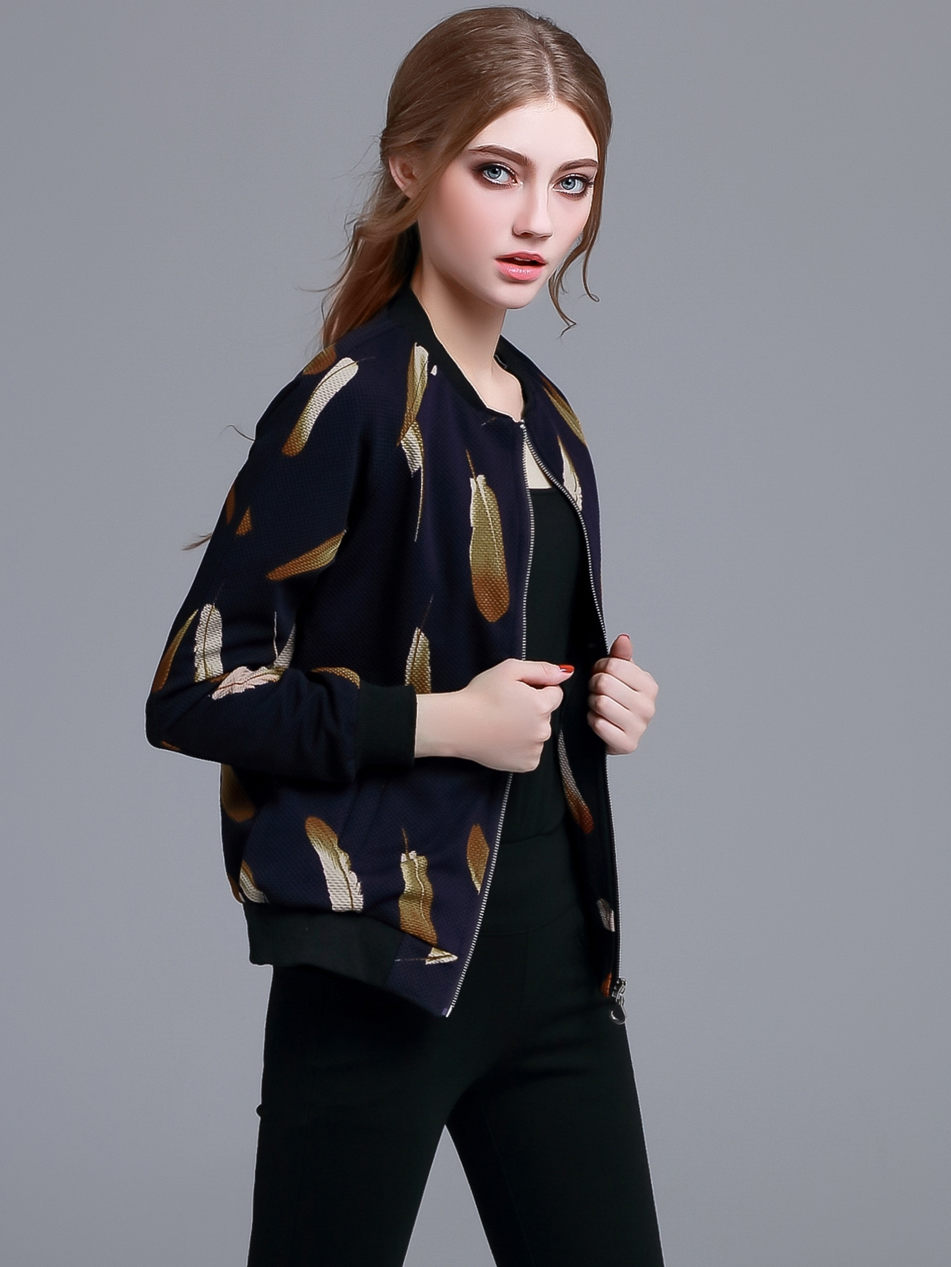 29.99$  Buy here - http://diwsu.justgood.pw/go.php?t=8579 - Navy Feather Print Zipper Front Jacket 29.99$