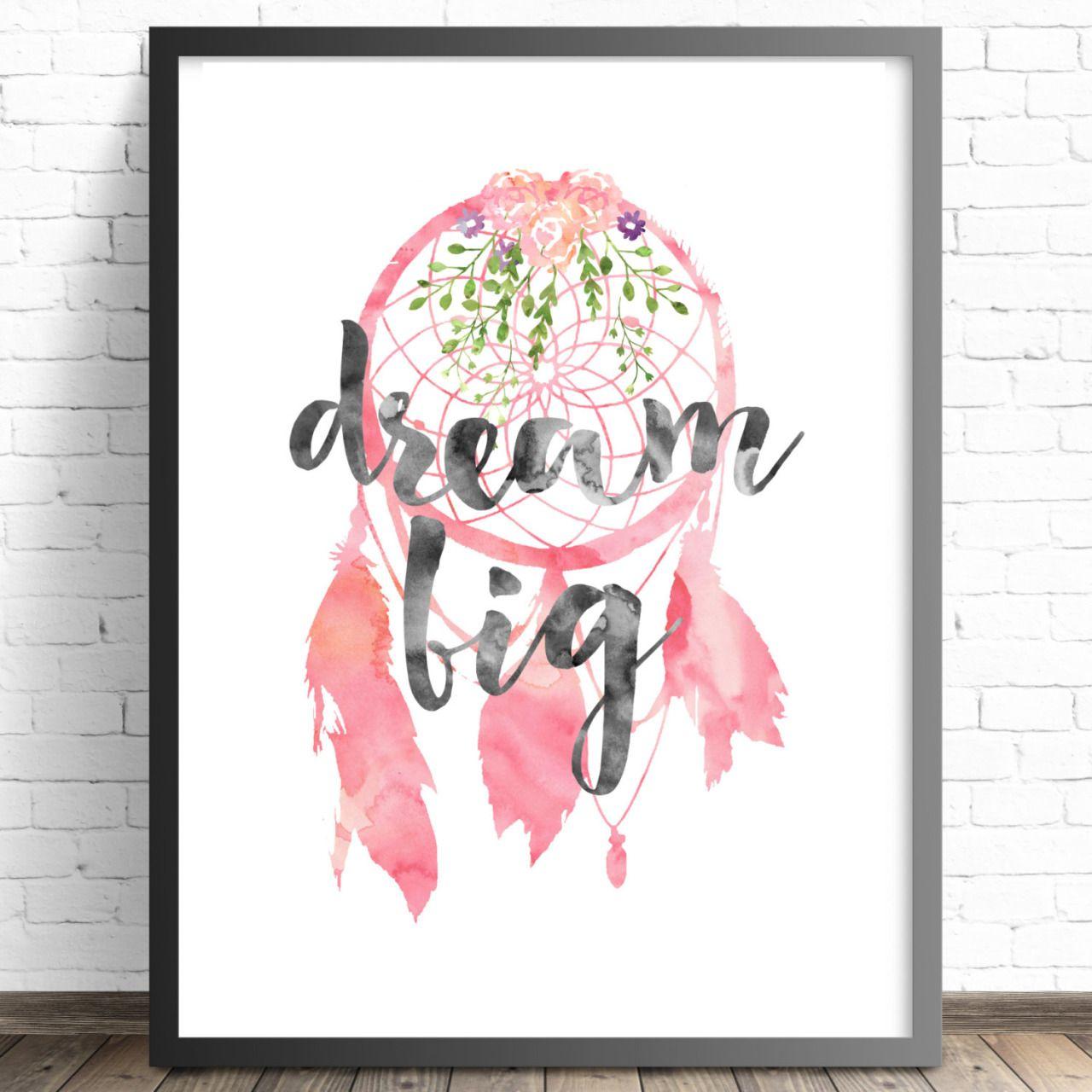 Nursery print boho floral bedroom wall art print dream big pink