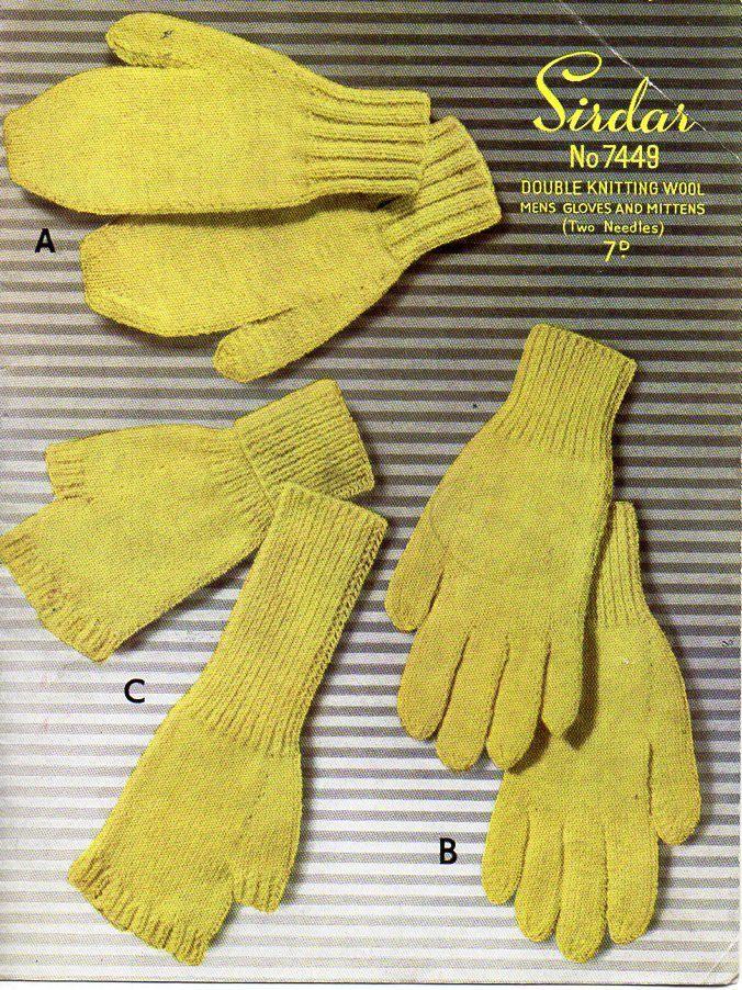 vintage Mens Gloves Mittens Fingerless Gloves Knitting Pattern PDF ...