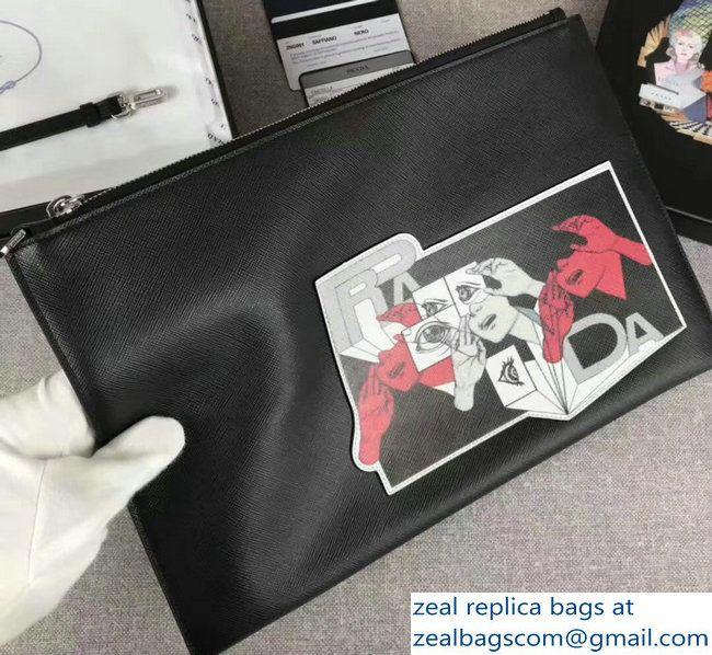 365ab0bda9e4 Prada Applique With A Comic Strip Motif Saffiano Leather Pouch Clutch Bag  2NG001 Black 2018