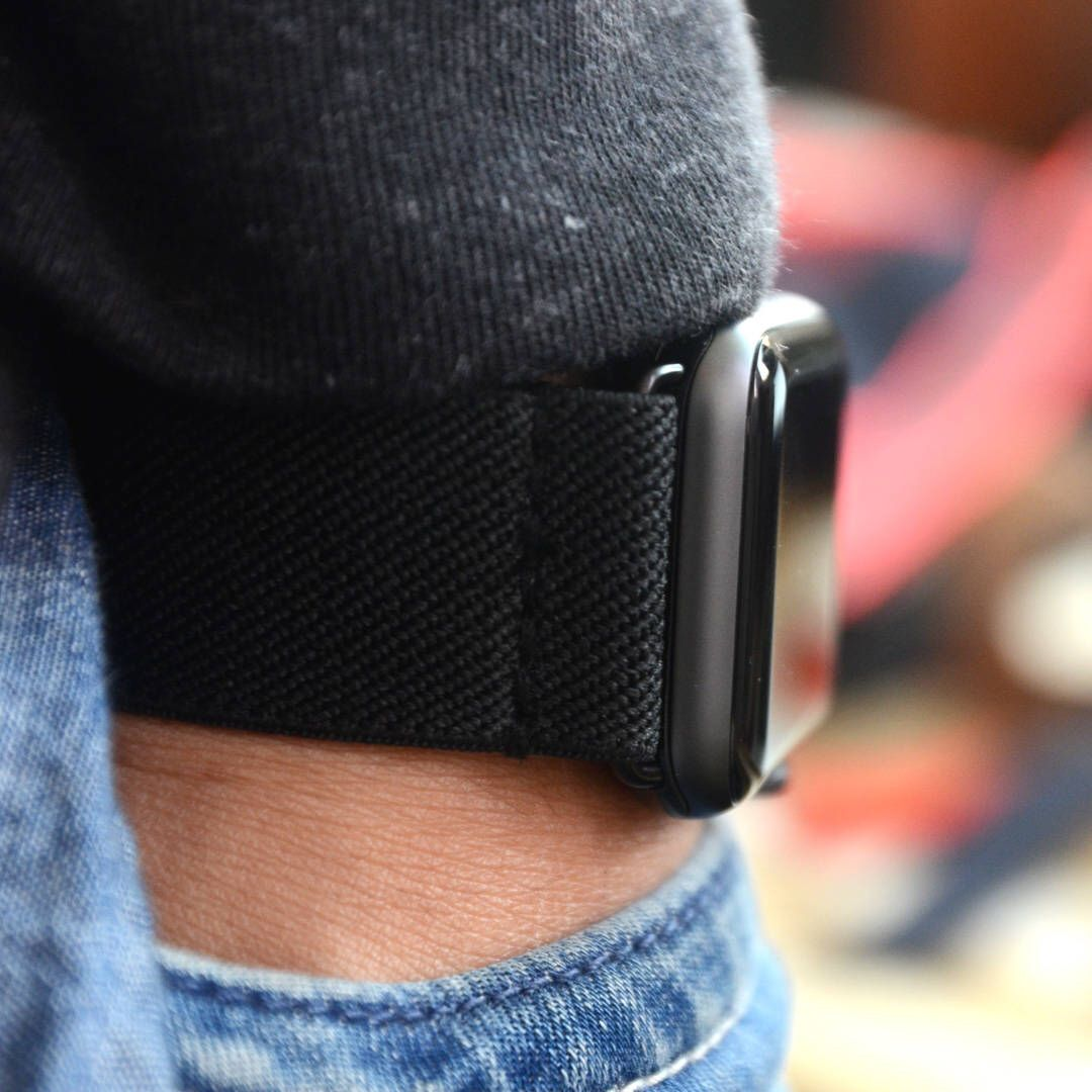 Tefeca Black Colored Stretch Woven Elastic Apple Watch Band 38mm