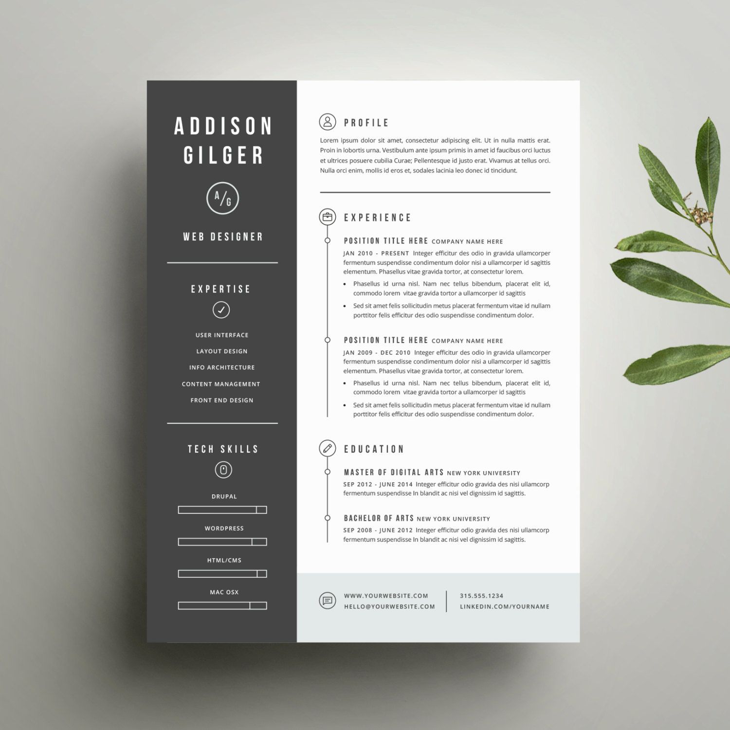 Resume Template And Cover Letter Template For Word  Digital Instant