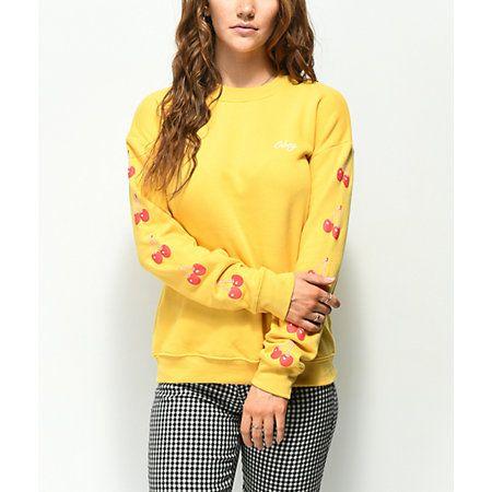 1123138127 Obey Cherry Script Delancey Yellow Crew Neck Sweatshirt in 2019 ...