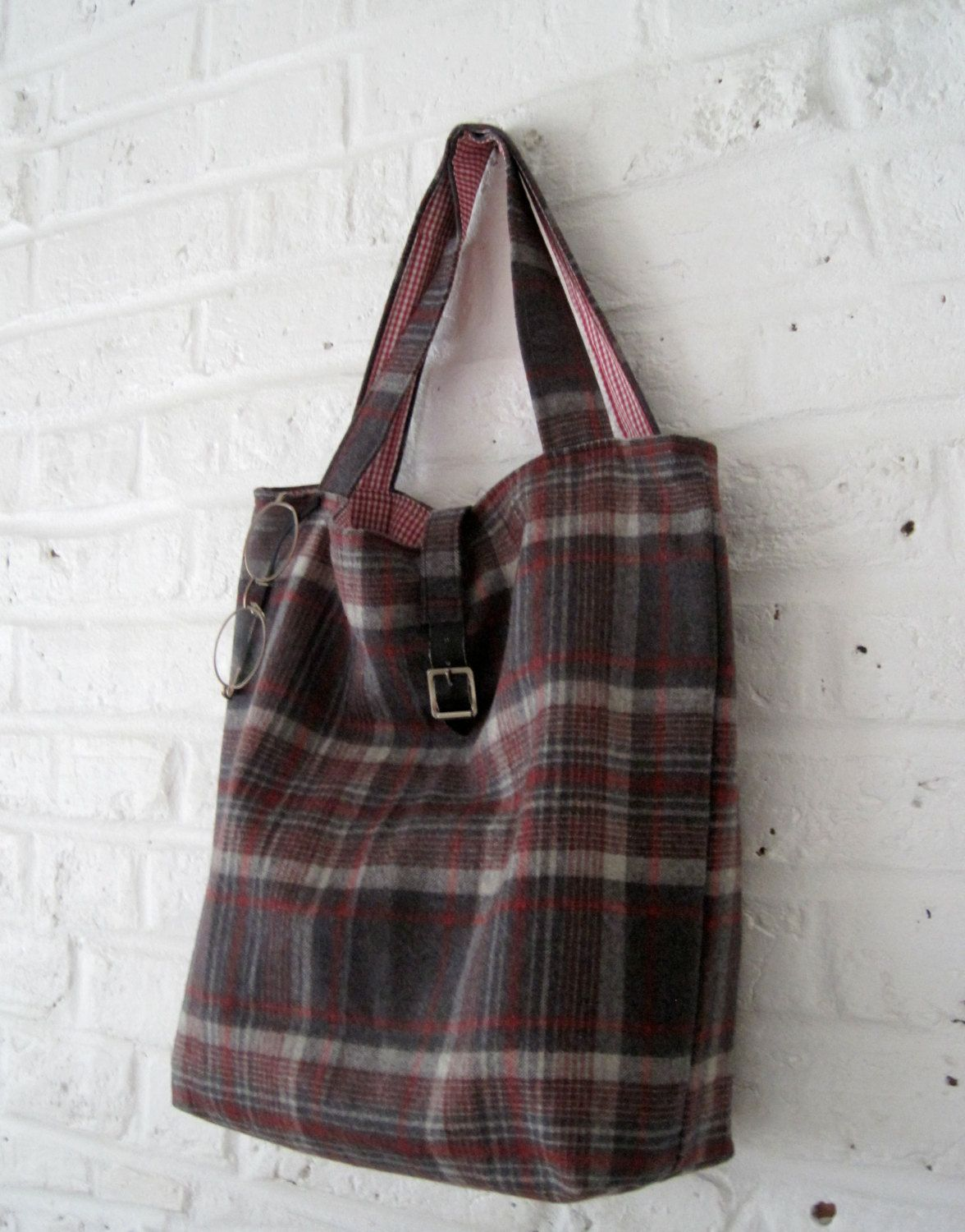 Handmade Recycled Red and Grey Wool Bag by MadeinW6 on Etsy