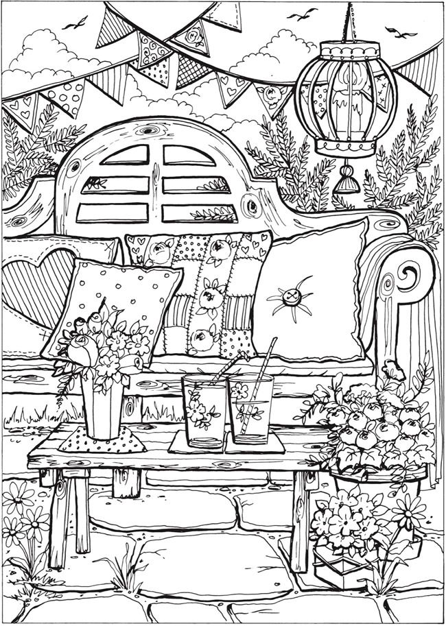 Creative Haven Summer Scenes Coloring Book | Dover Publications ...