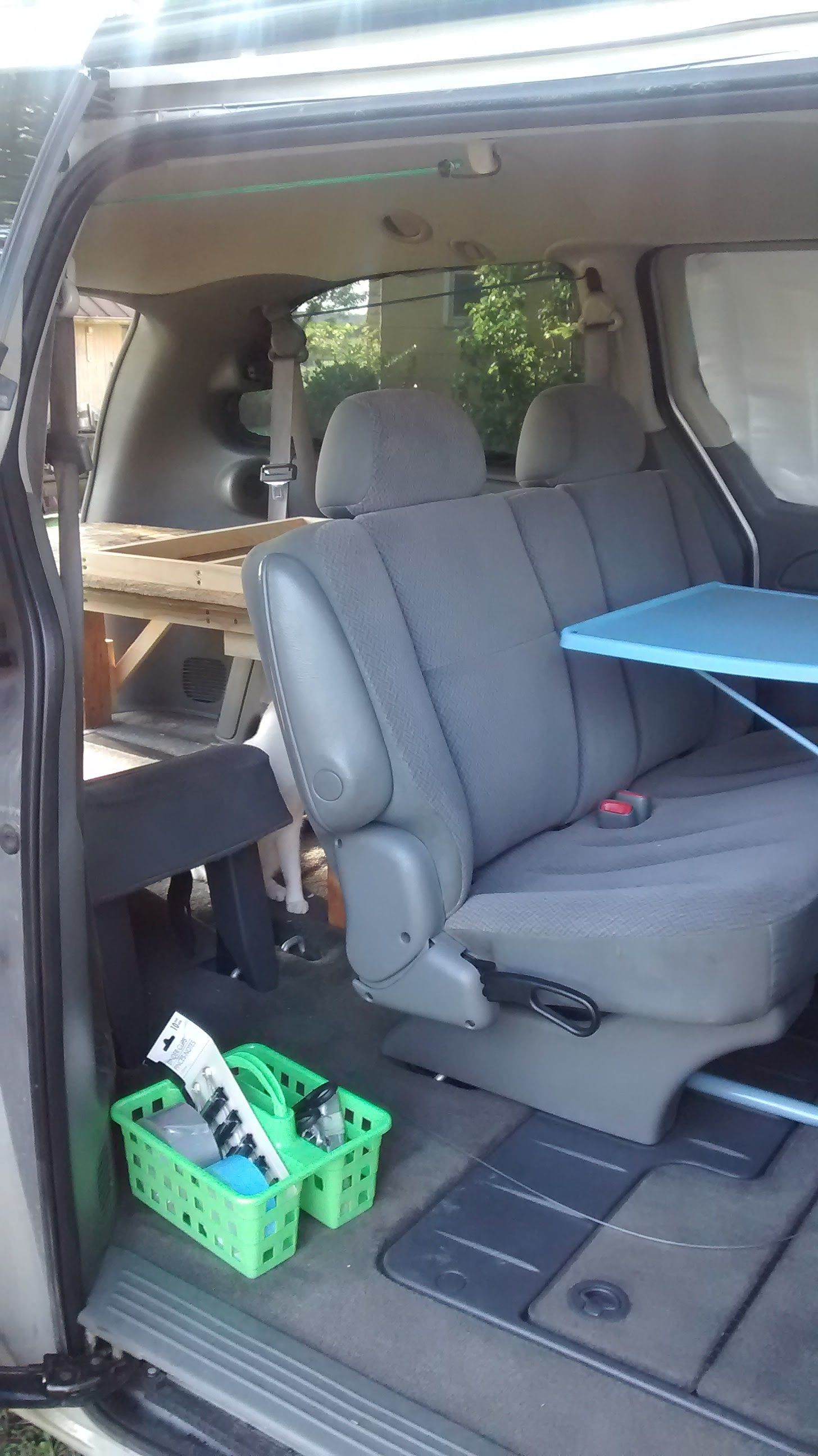 My 2006 Dodge Caravan With Bed Frame Folded Up And Both Seats Up