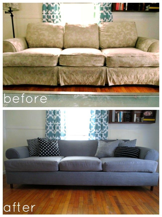 DIY couch covering with staple gun, leave on old fabric. Will totally need  this for when I cover the parlor's couch. | Home improvement | Pinterest |  Guns, ...