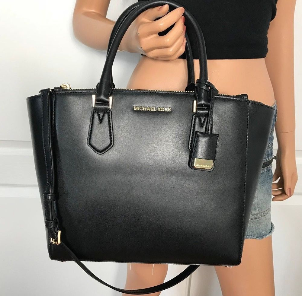 9faaab72712b NWT Michael Kors Carolyn Bag Soft Leather Large Tote Handbag Purse Black   MichaelKors  Tote