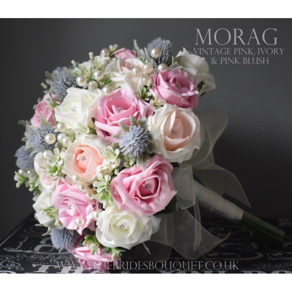 Wedding Bouquet With Lilac Thistle And Pretty Pink Roses Artificial Wedding Flowers With Pearl D In 2020 Pink Wedding Theme Thistle Wedding Artificial Bridal Bouquets