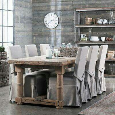 Cubre Sillas  Dining Room  Pinterest  Farm Style Table Dining Custom Grey Dining Room Chair Covers Inspiration Design