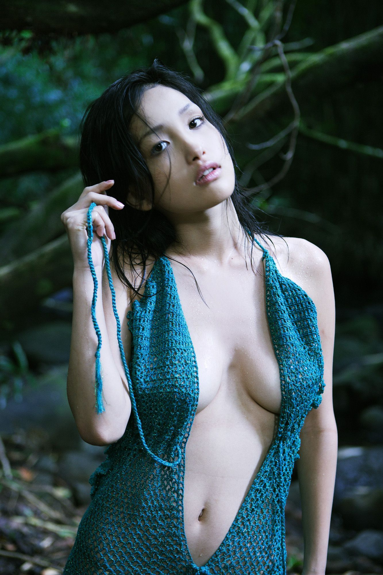 Asian breast girl rubbing