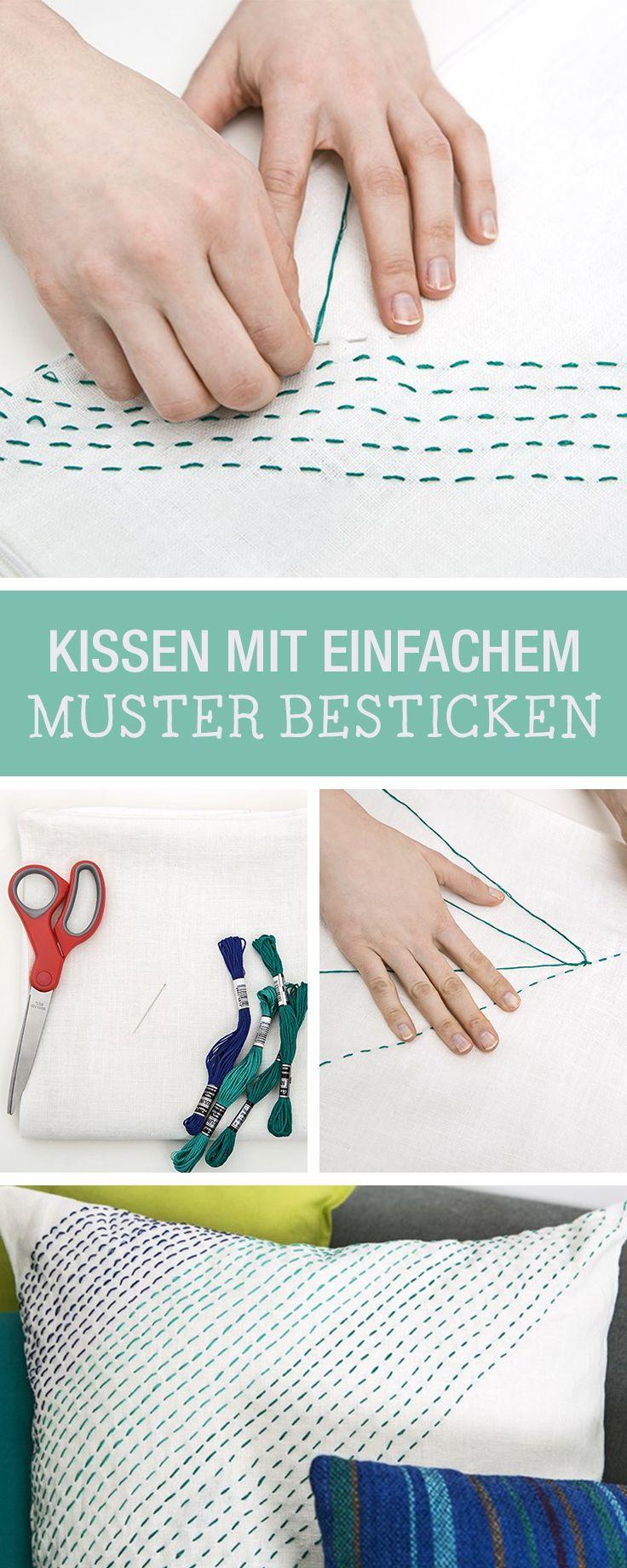 DIY-Anleitung: Kissenbezug mit einfachem Muster besticken via ...