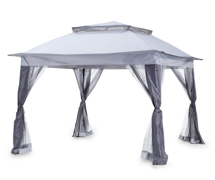 gray pop up canopy with netting 11 39 x 11 39 at big lots patios pop up canopy tent gazebo. Black Bedroom Furniture Sets. Home Design Ideas