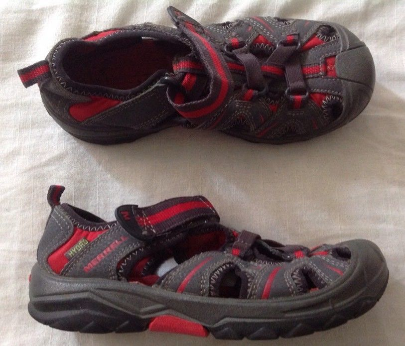 449025320 Boys Merrell Hydro Water Sandals Sz 1 M Youth Hiking Athletic Red Gray  Sport  Merrell  HikerSandals