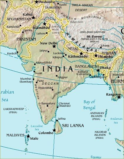 Terrain Map of India Indian Subcontinent Arabian Sea Map  the