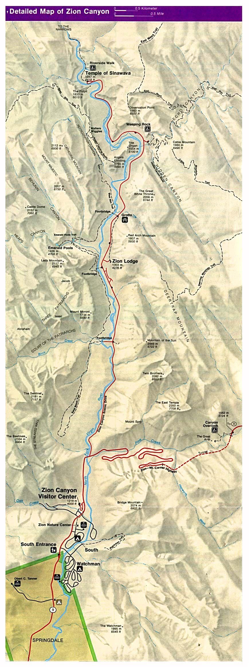 Zion Canyon Map Zion National Park UT USA mappery Utah