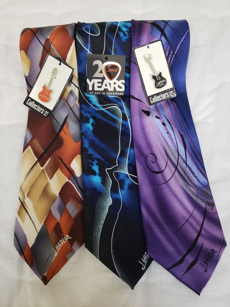 3 J Garcia Limitedcollectors Edition Neck Ties W Collector Pins
