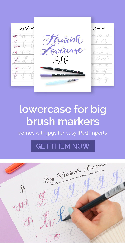 Big Brush Marker Flourish Lowercase Letters Alphabet