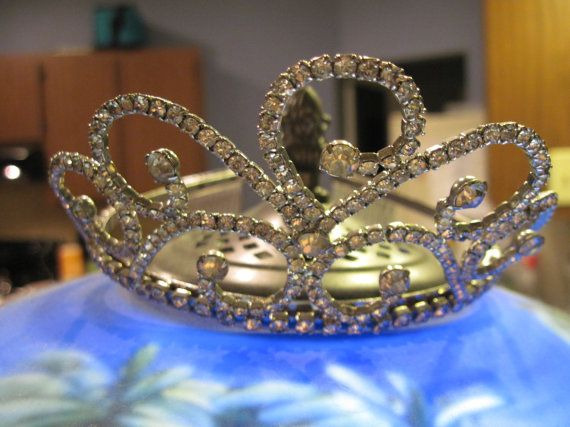 Vintage Swirling Rhinestone Tiara 1950's Great for Bridal, Prom, Pageant
