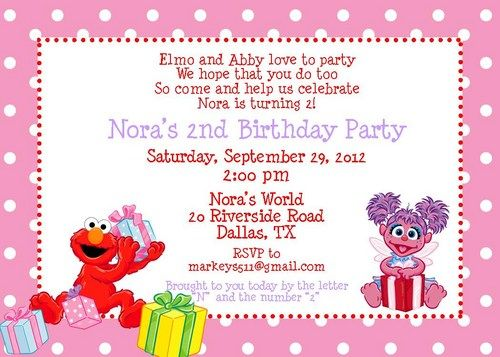 20 printed elmo and abby birthday invitation | jade annabelle, Birthday invitations