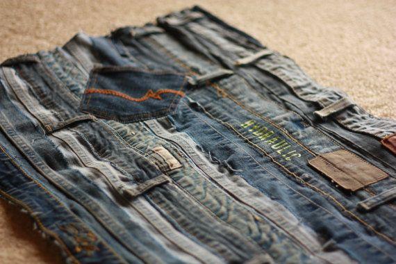 Handmade Jean Throw Rug Rustic Blue Denim Denim Rug Denim Diy Upcycle Jeans