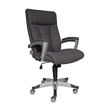 sealy posturepedic santana fabric executive chair charcoal grey