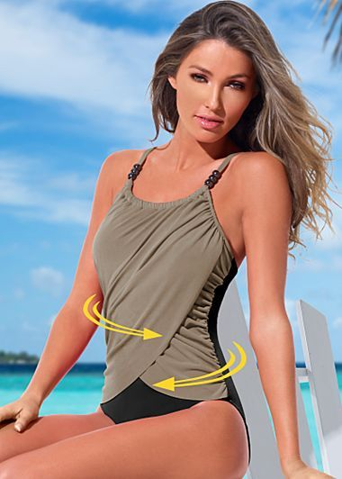 91745b6e34ce7 Slimming draped one-piece in 2019   Bathing suit ideas   Swimsuits ...